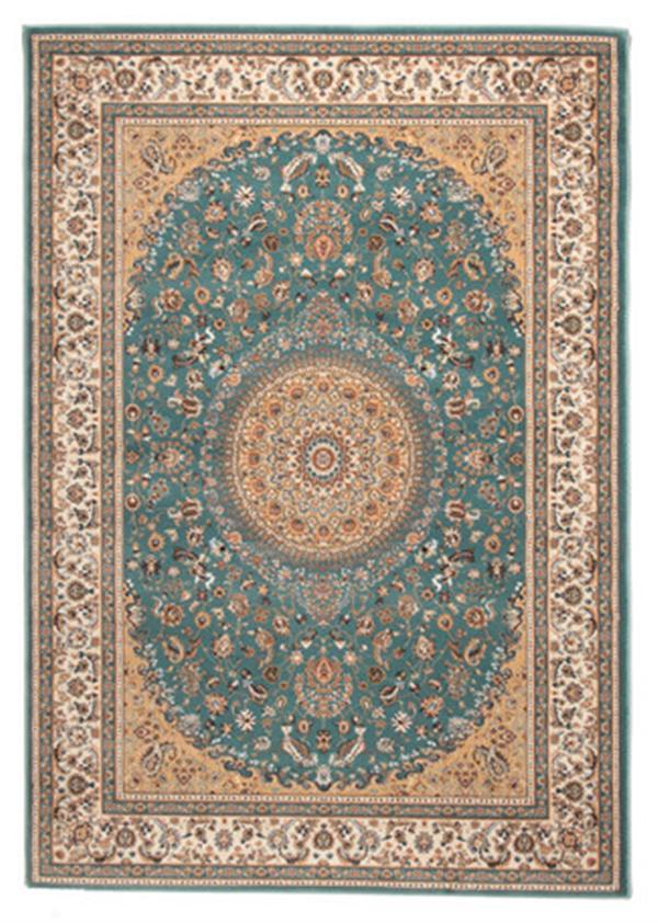 【洋風・エレガント】トルコ製 ウィルトン織ラグ 「ローサマルカンド」ブルー 約160X230cm