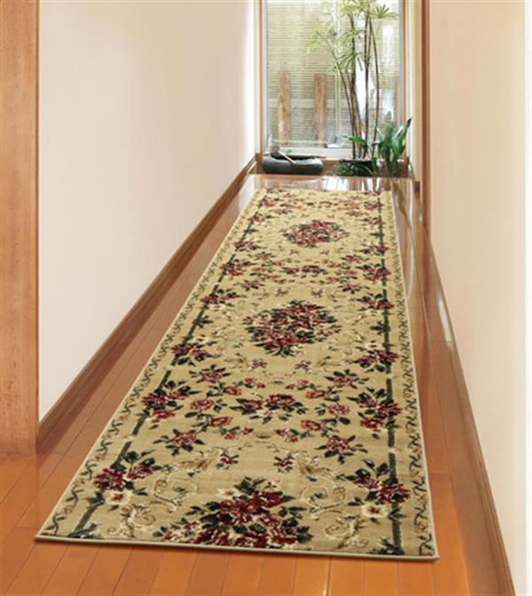 廊下敷き「ロゼ」ベージュ 毛足約10mm ふっくら ウィルトン織 約80×700cm