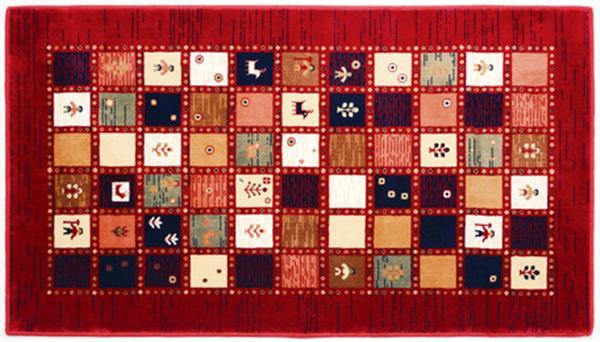 マット・ラグ ウィルトン織 ギャッベ風 「ジプシー」レッド 約90X150cm