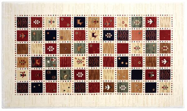 マット・ラグ ウィルトン織 ギャッベ風 「ジプシー」アイボリー 約90X150cm