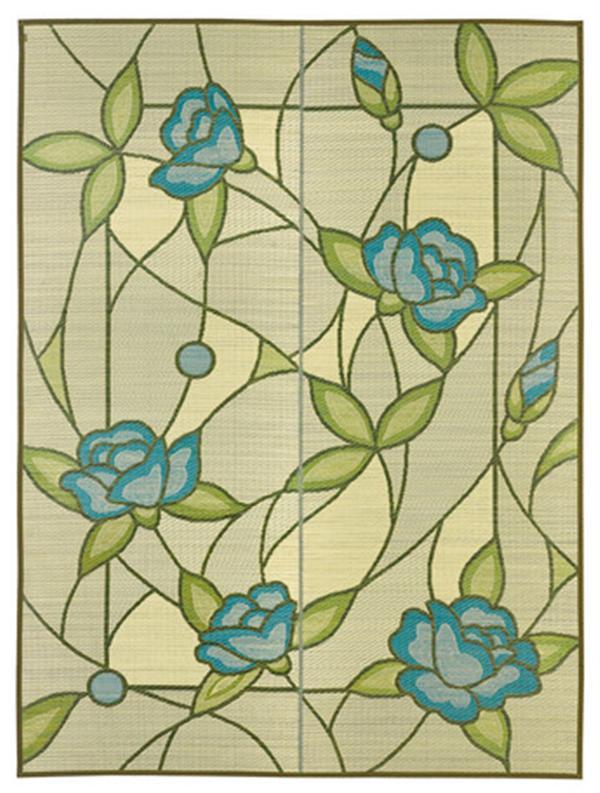 国産 い草ラグ カーペット 裏貼無「オリヴィア」ブルー 約191×191