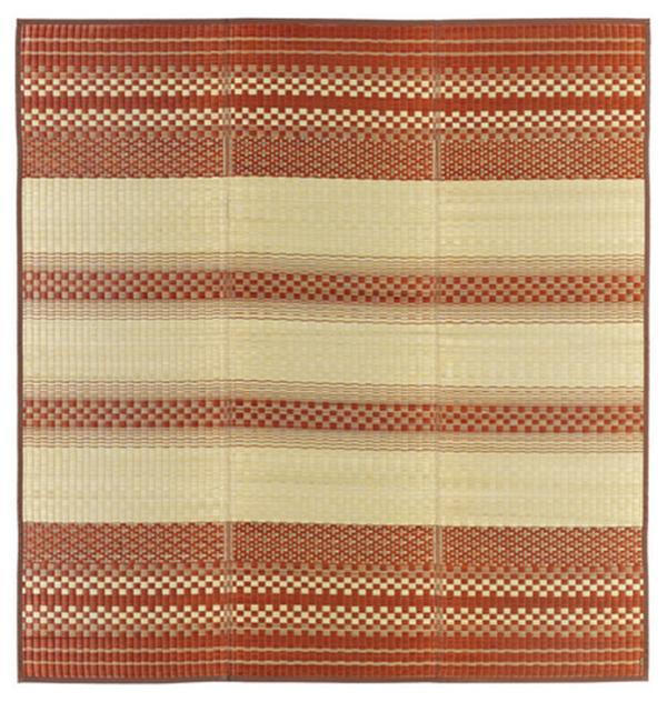 国産 い草ラグ コンパクト収納「天領」 ブラウン 約180×180