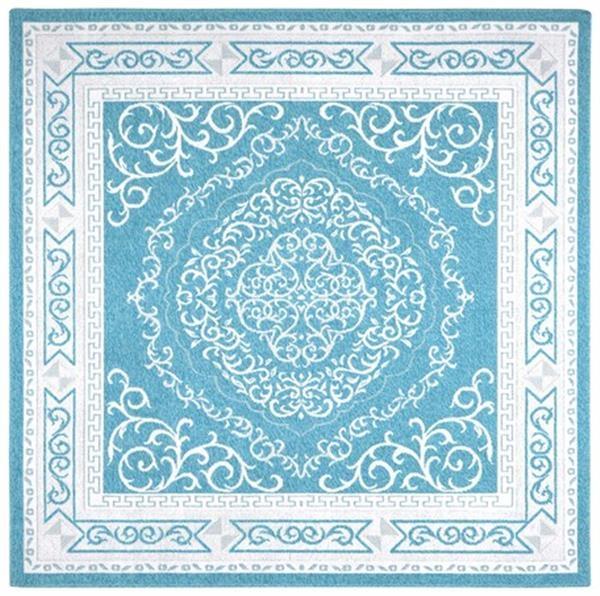 さわやか綿100% ウィルトン織ラグ エジプト製 「ベルマリン」ブルー 約200X200cm