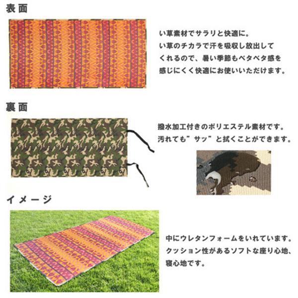 【い草】レジャーマット 収納袋付き「グレッグ」 レッド 約100X200cm 約100x200cm