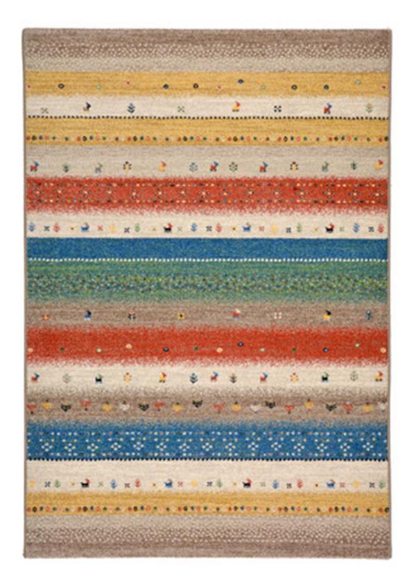 【ギャッベ風デザイン】ウィルトン織ラグ ベルギー製 「レーヴ」 グリーン 約133×195cm