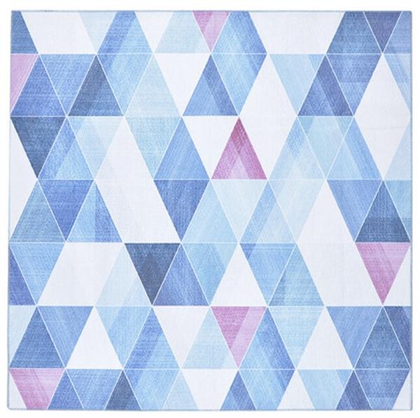 シェニール風プリントラグ 洗える 「リュッケ」 ブルー 約190×240cm