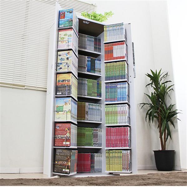 大量収納DVD・CD・コミック本棚ストッカー収納庫 ホワイト