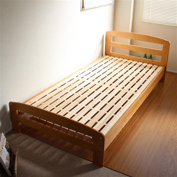 天然木すのこシングルベッド 通気性バツグン ナチュラル