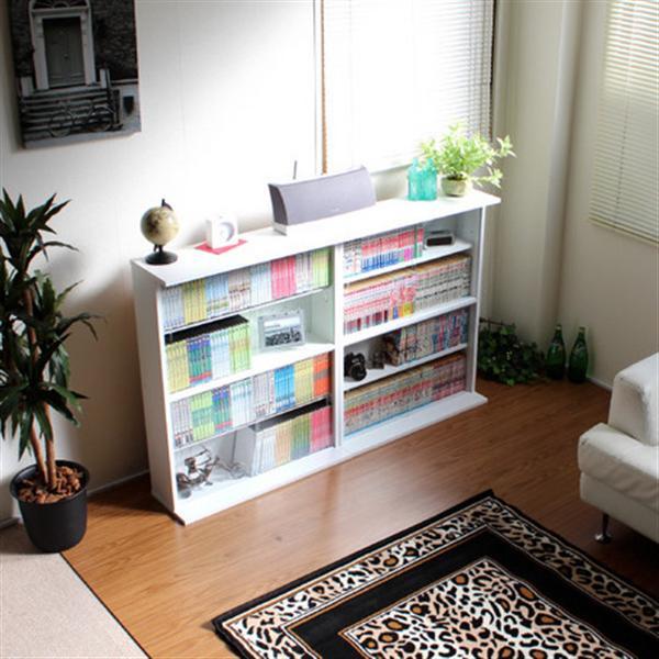 本棚 ガラス扉付き 薄型 縦横ラック 収納 2個組 日本製 ホワイト