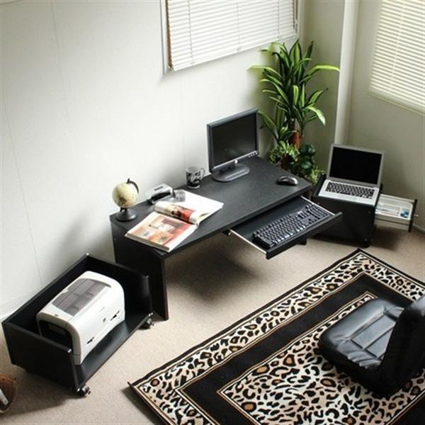 【8月下旬入荷予定】ロータイプデスク3点セット スライドテーブル仕様 90cm幅 ブラック