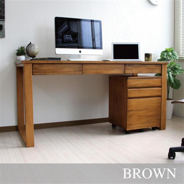 天然木パイン材デスク 2点セット140cm幅 書斎机 学習机 ブラウン