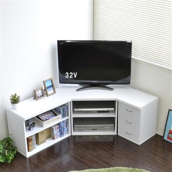 テレビ台 コーナー 3点セット コーナー+チェスト+ラック 木製 ホワイト