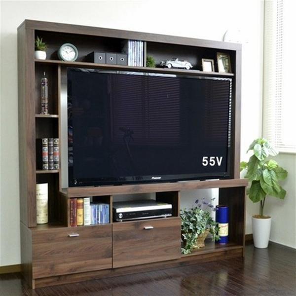 【6月中旬入荷予定】55インチ対応 テレビ台 ハイタイプ 壁面家具 ブラウン