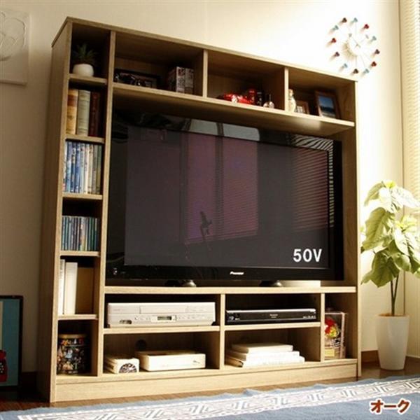 50インチ対応 135幅 テレビ台 壁面 収納ゲート型 オーク