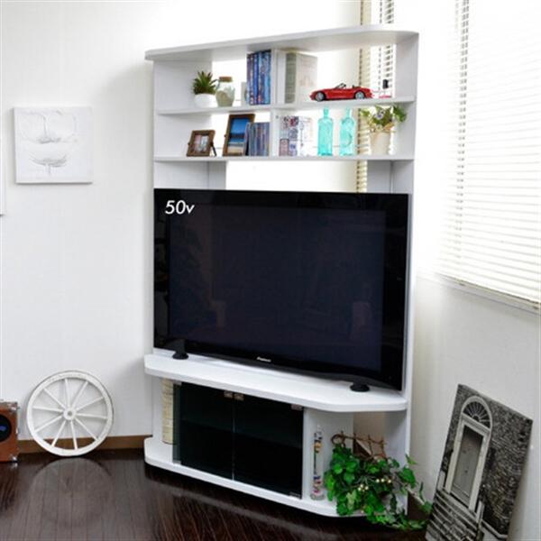 50インチ対応 コーナーテレビ台 ハイタイプ ホワイト