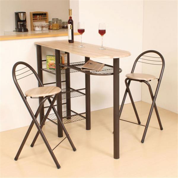 ハイテーブル ダイニング3点セット(収納付き・テーブル高さ88cm) CT-1200 フレーム:ブラウン、天板:ナチュラル