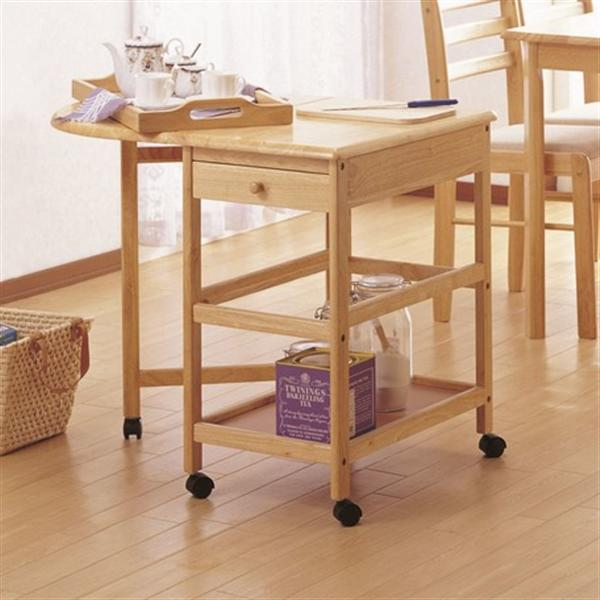 木製バタフライテーブル付きキッチンワゴン KW-415 ナチュラル