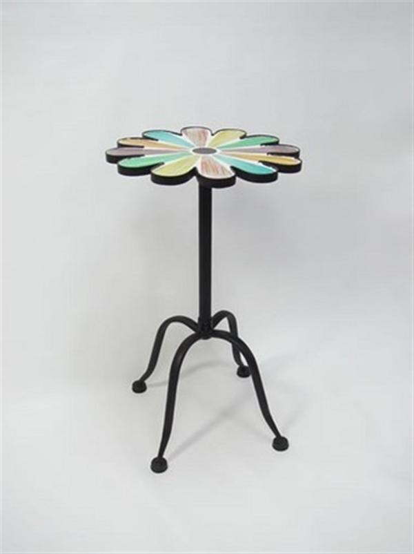 アンティーク調 フラワーランプテーブル(サイドテーブル)