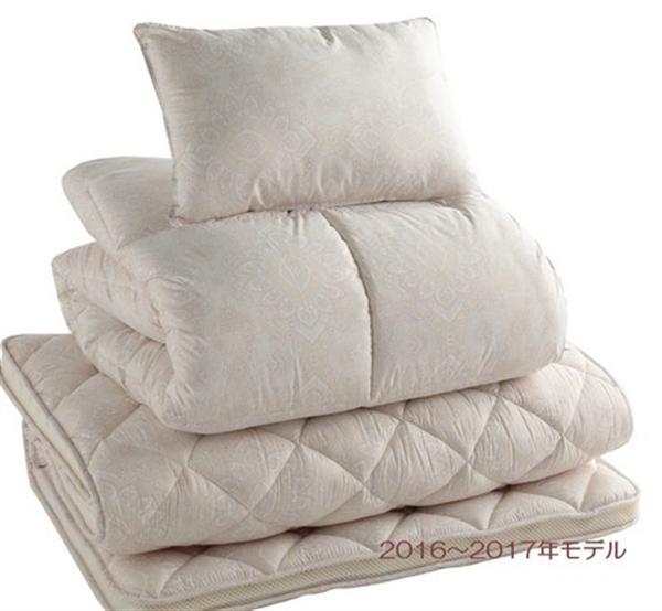 羽毛入り合繊 布団セット (掛け、敷き、枕の3点セット) ベージュ