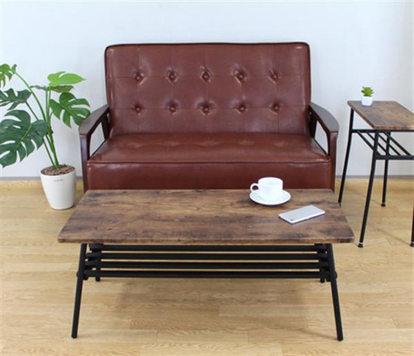 レトロな小さな家具のシリーズ 高さ39cm、棚付き、折り脚のセンターテーブル 27-343レトロな小さな家具のシリーズ 高さ39cm棚付き折り脚センターテーブル