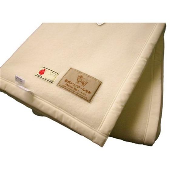 【日本製】防炎ラベル付オーストラリア産メリノウールあったか毛布 シングル