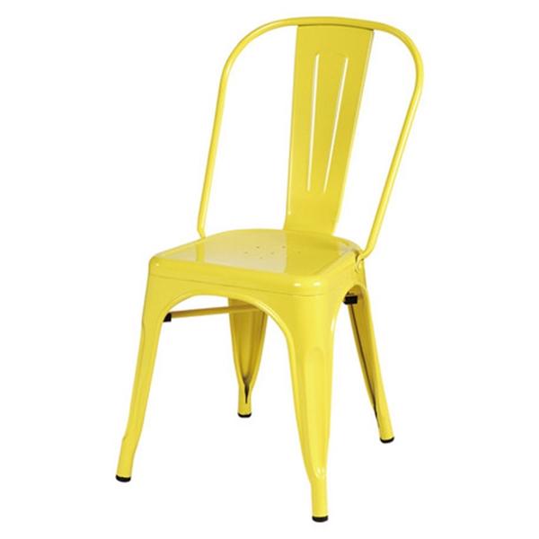 おしゃれ 椅子/カフェチェア/Aチェア/スタッキング/ダイニングチェア イエロー