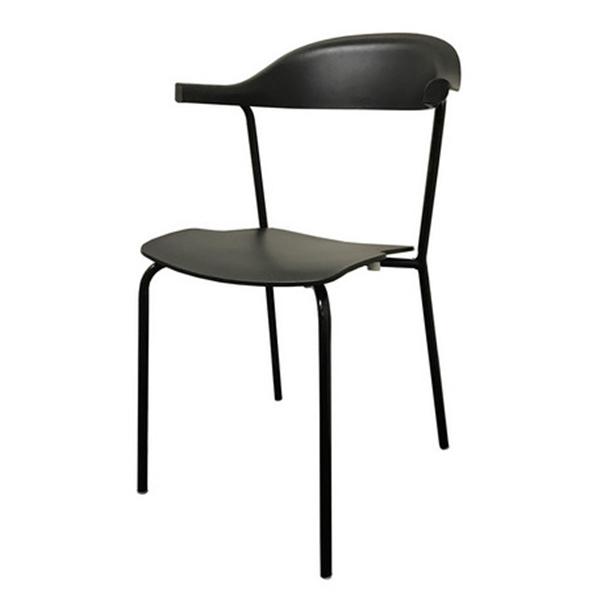 おしゃれ 椅子/カフェチェア/ガーデンチェア/スタッキング/ダイニングチェア ブラック