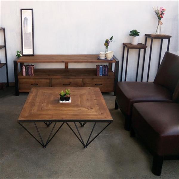 KOZAIコーヒーテーブル ジオメトリー 古材・ 切り返し模様 ・ブルックリンスタイル