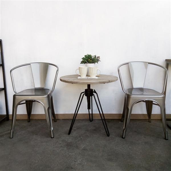 KOZAI丸テーブル ホワイト 古材・ 高さ調整可 ・ブルックリンスタイル