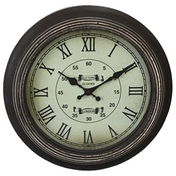 ウッドクロック ブラウン壁掛け時計・ アンティーク風・インテリア雑貨