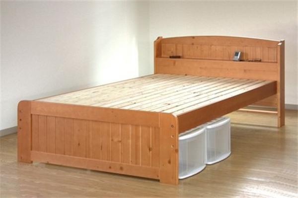 天然木パイン棚付きすのこベッド セミダブル