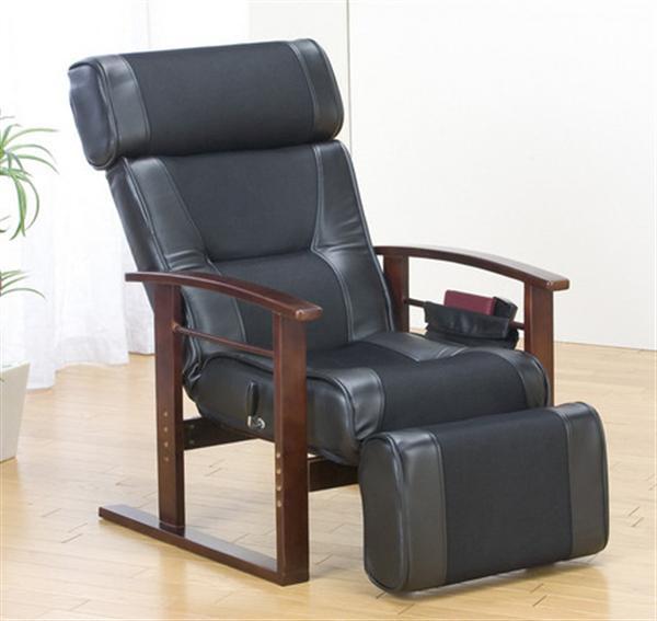 ヘッド&フットレス付きリクライニング高座椅子 ブラック