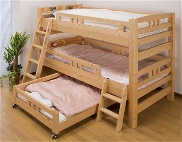 頑丈パイン材多段ベッド 上段ベッド+下段ベッド