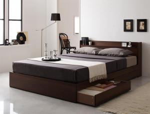 コンセント付き収納ベッド Ever エヴァー プレミアムボンネルコイルマットレス付き ダブル