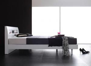 棚・コンセント付きデザインすのこベッド Alamode アラモード プレミアムボンネルコイルマットレス付き ダブル