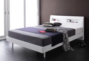 棚・コンセント付きデザインすのこベッド Alamode アラモード スタンダードポケットコイルマットレス付き ダブル