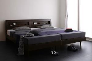 棚・コンセント付きデザインすのこベッド Alamode アラモード 羊毛入りゼルトスプリングマットレス付き ダブル