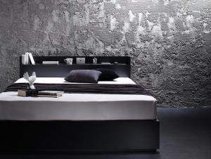 棚・コンセント付き収納ベッド VEGA ヴェガ プレミアムボンネルコイルマットレス付き ダブル
