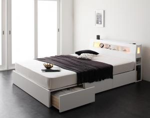 モダンライト・コンセント収納付きベッド Cher シェール プレミアムポケットコイルマットレス付き ダブル