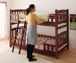 天然木コンパクト分割式2段ベッド fine ファイン シングル