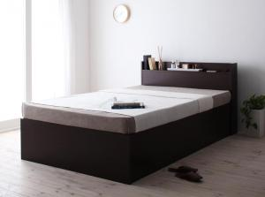 お客様組立 シンプル大容量収納庫付きすのこベッド Open Storage オープンストレージ 薄型スタンダードボンネルコイルマットレス付き セミダブル 深さラージ