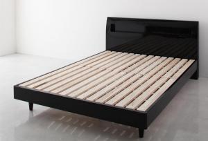 鏡面光沢仕上げ 棚・コンセント付きモダンデザインすのこベッド Degrace ディ・グレース ベッドフレームのみ ダブル
