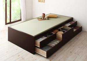 お客様組立 シンプルモダン畳チェストベッド 翠緑 すいりょ 中国産畳 ベッドガードなし セミダブル