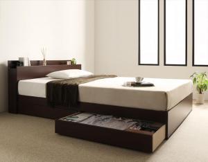 棚・コンセント付き収納ベッド virzell ヴィーゼル プレミアムボンネルコイルマットレス付き セミダブル