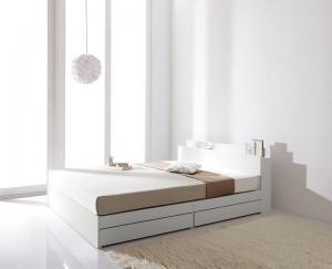 棚・コンセント付き収納ベッド ma chatte マシェット プレミアムボンネルコイルマットレス付き ダブル