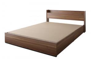 ウォルナット柄/棚・コンセント付き収納ベッド Espelho エスペリオ ベッドフレームのみ ダブル