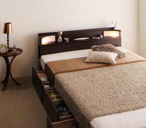 棚・照明・コンセント付き収納ベッド Luar ルアール マルチラススーパースプリングマットレス付き ダブル