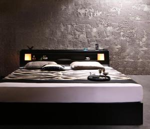 モダンデザイン・キングサイズ収納ベッド Leeway リーウェイ プレミアムボンネルコイルマットレス付き キング(K×1)