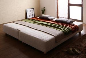 日本製ポケットコイルマットレスベッド MORE モア マットレスベッド グランドタイプ ワイドK200 脚15cm