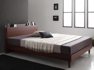 棚・コンセント付きスリムデザインすのこベッド slim&sharp スリムアンドシャープ ポケットコイルマットレスハード付き ダブル